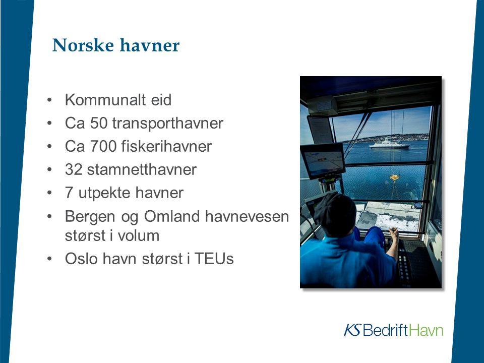 Norske havner Kommunalt eid Ca 50 transporthavner Ca 700 fiskerihavner