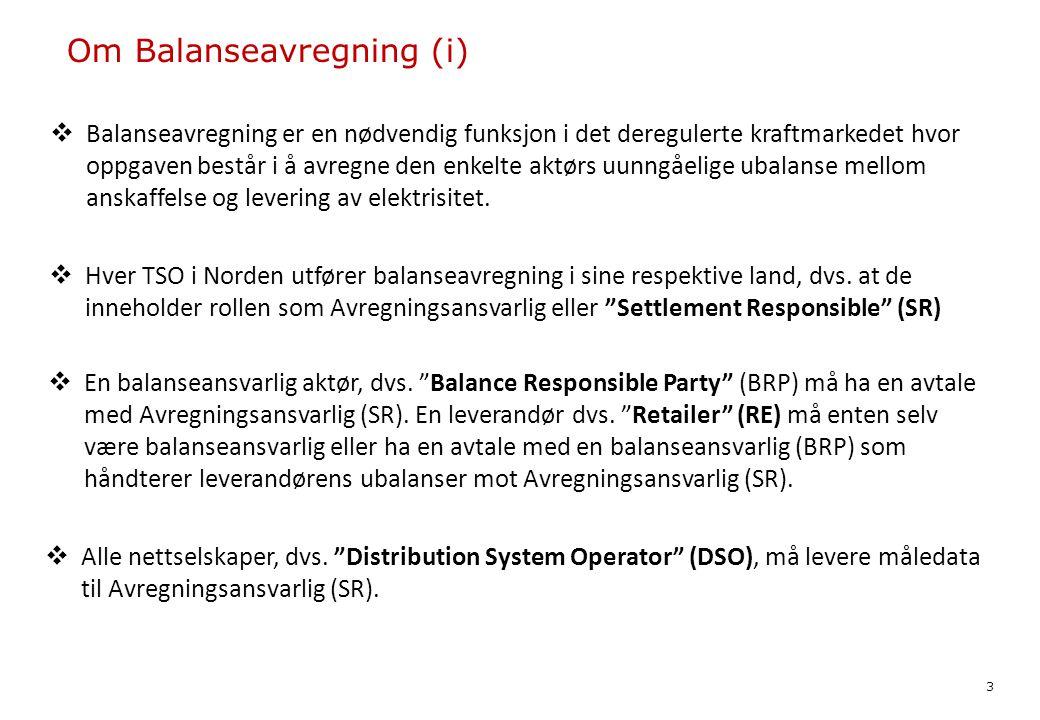 Om Balanseavregning (i)