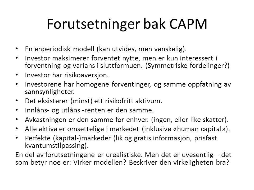 Forutsetninger bak CAPM