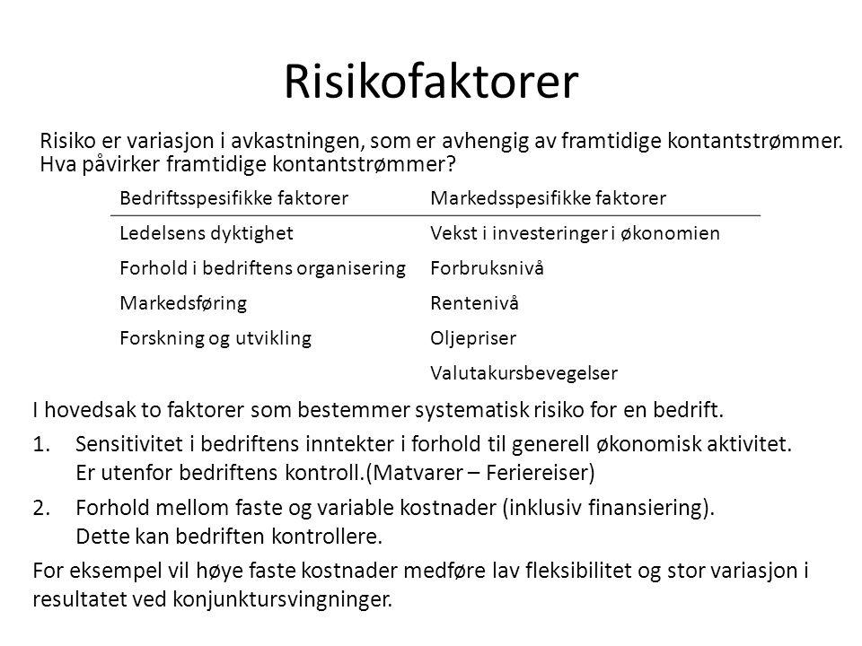 Risikofaktorer Risiko er variasjon i avkastningen, som er avhengig av framtidige kontantstrømmer. Hva påvirker framtidige kontantstrømmer