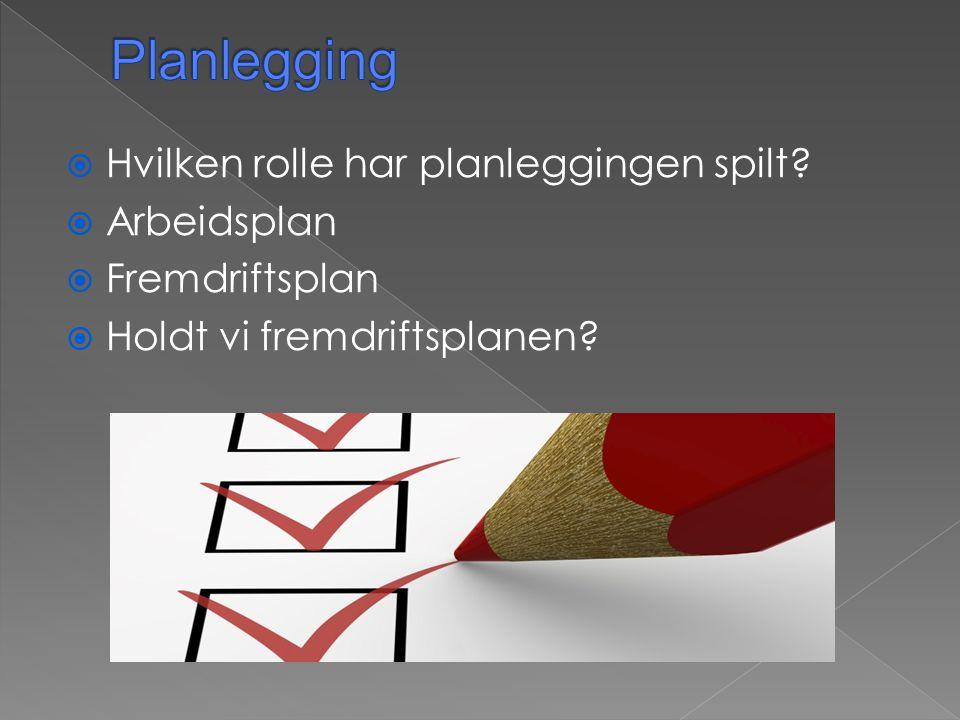 Planlegging Hvilken rolle har planleggingen spilt Arbeidsplan