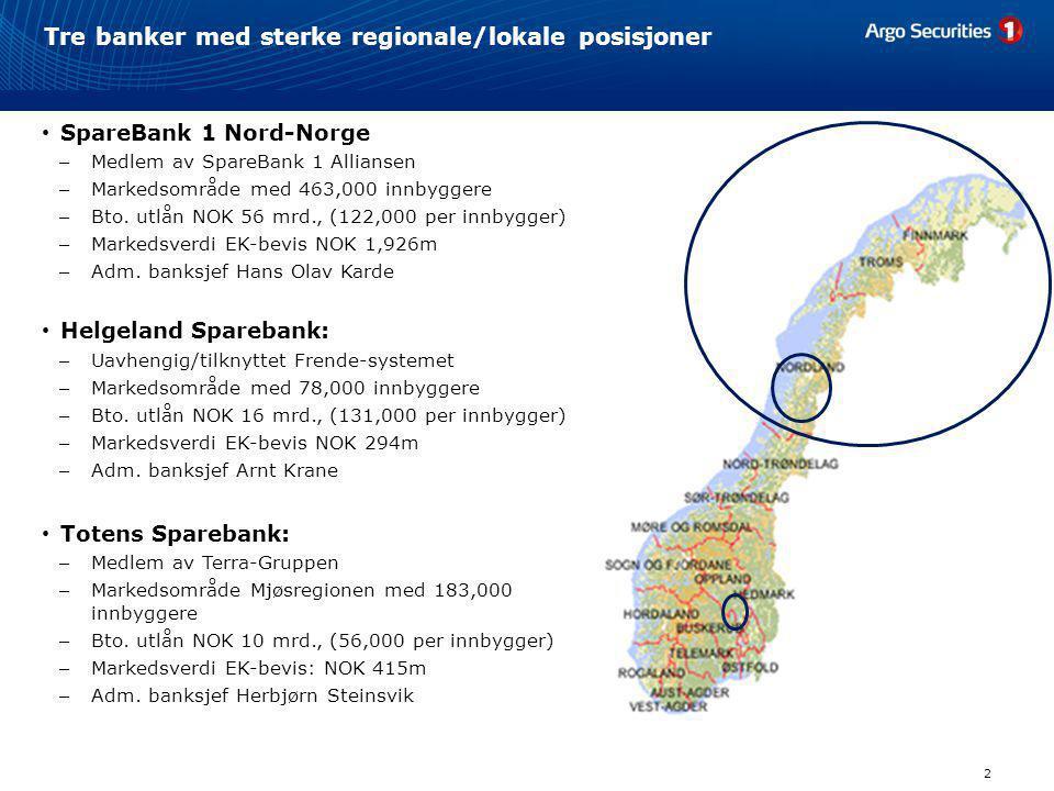Tre banker med sterke regionale/lokale posisjoner