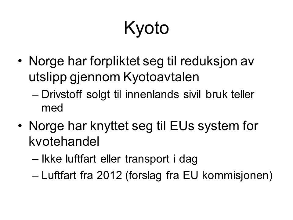 Kyoto Norge har forpliktet seg til reduksjon av utslipp gjennom Kyotoavtalen. Drivstoff solgt til innenlands sivil bruk teller med.