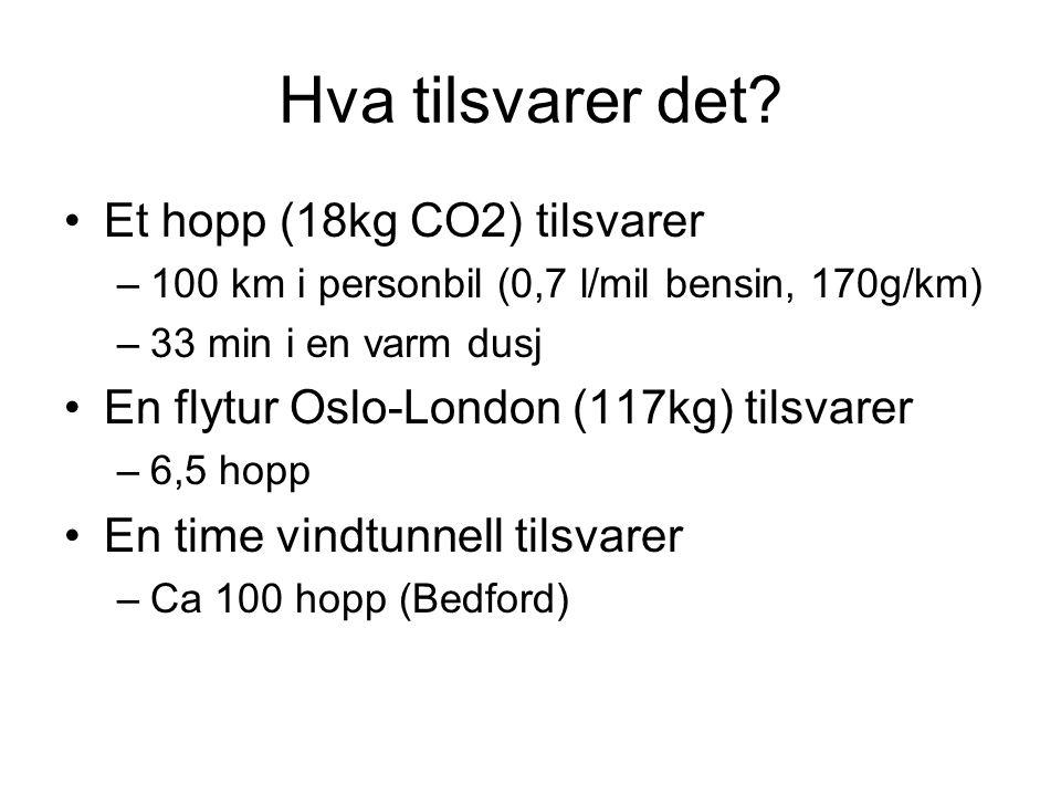 Hva tilsvarer det Et hopp (18kg CO2) tilsvarer
