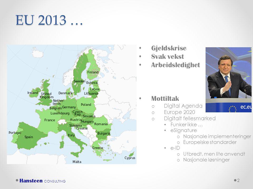 EU 2013 … Gjeldskrise Svak vekst Arbeidsledighet Mottiltak