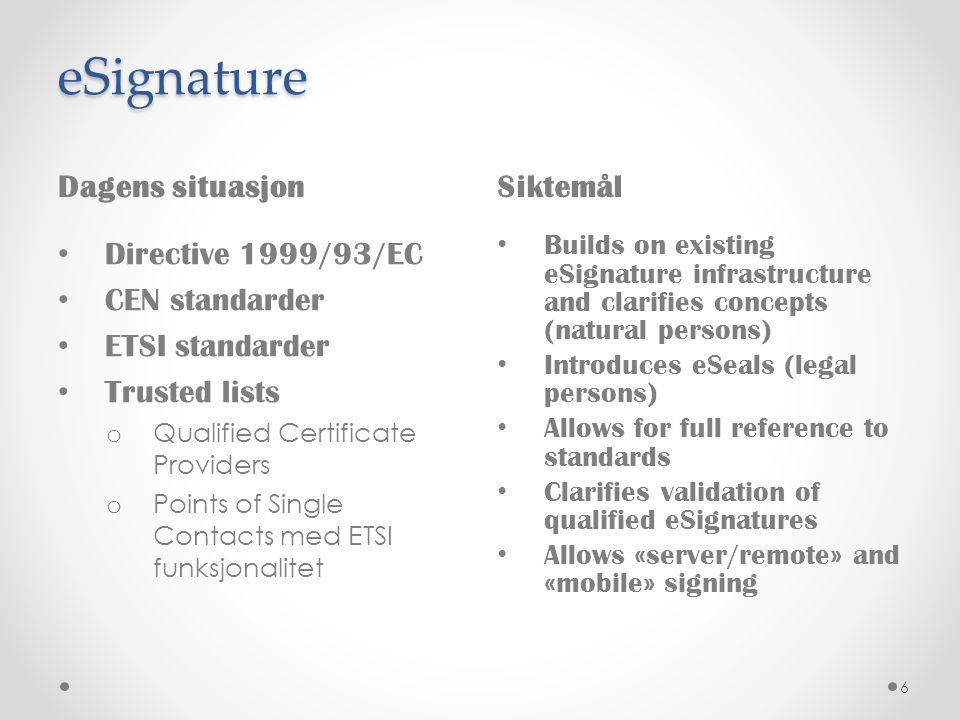 eSignature Dagens situasjon Siktemål Directive 1999/93/EC
