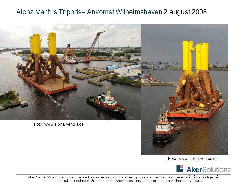 Alpha Ventus Tripods– Ankomst Wilhelmshaven 2.august 2008