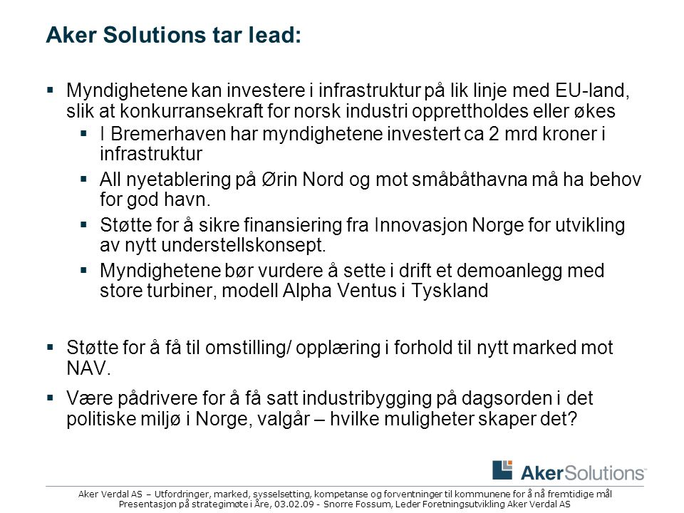 Aker Solutions tar lead: