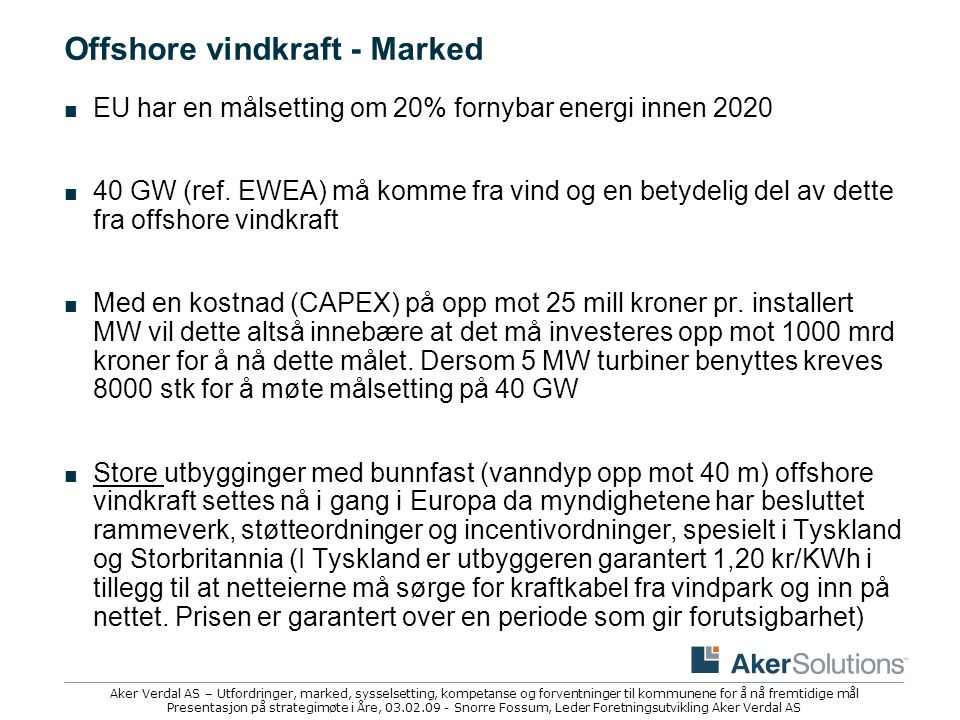 Offshore vindkraft - Marked