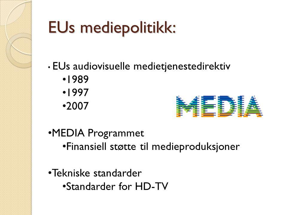 EUs mediepolitikk: 1989 1997 2007 MEDIA Programmet