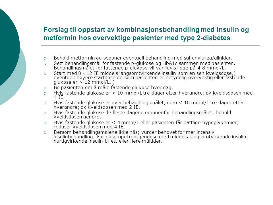 Forslag til oppstart av kombinasjonsbehandling med insulin og metformin hos overvektige pasienter med type 2-diabetes