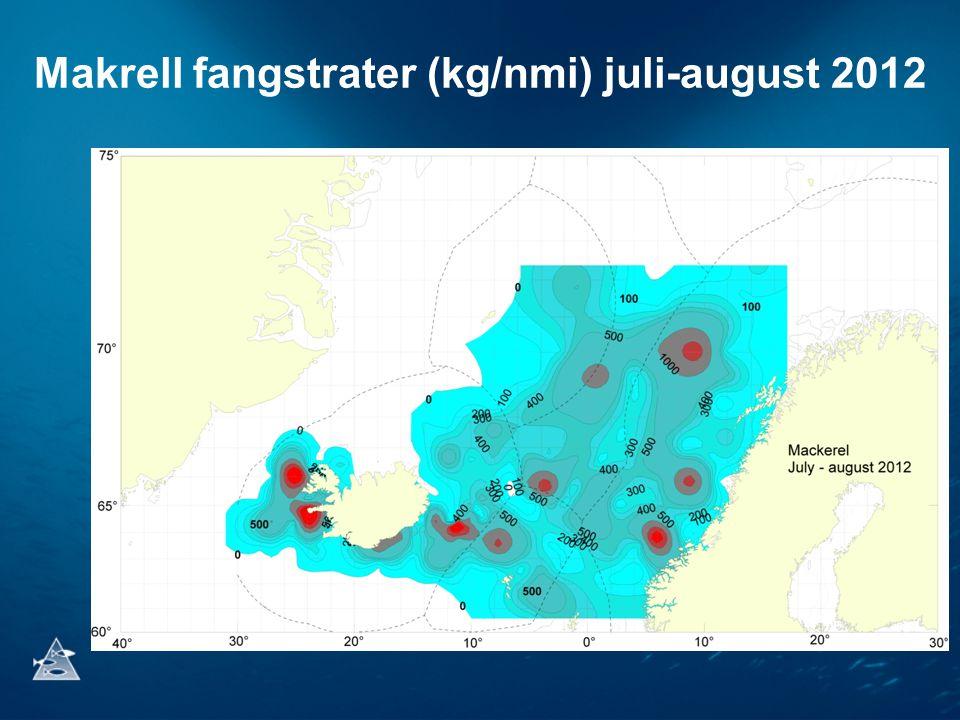 Makrell fangstrater (kg/nmi) juli-august 2012