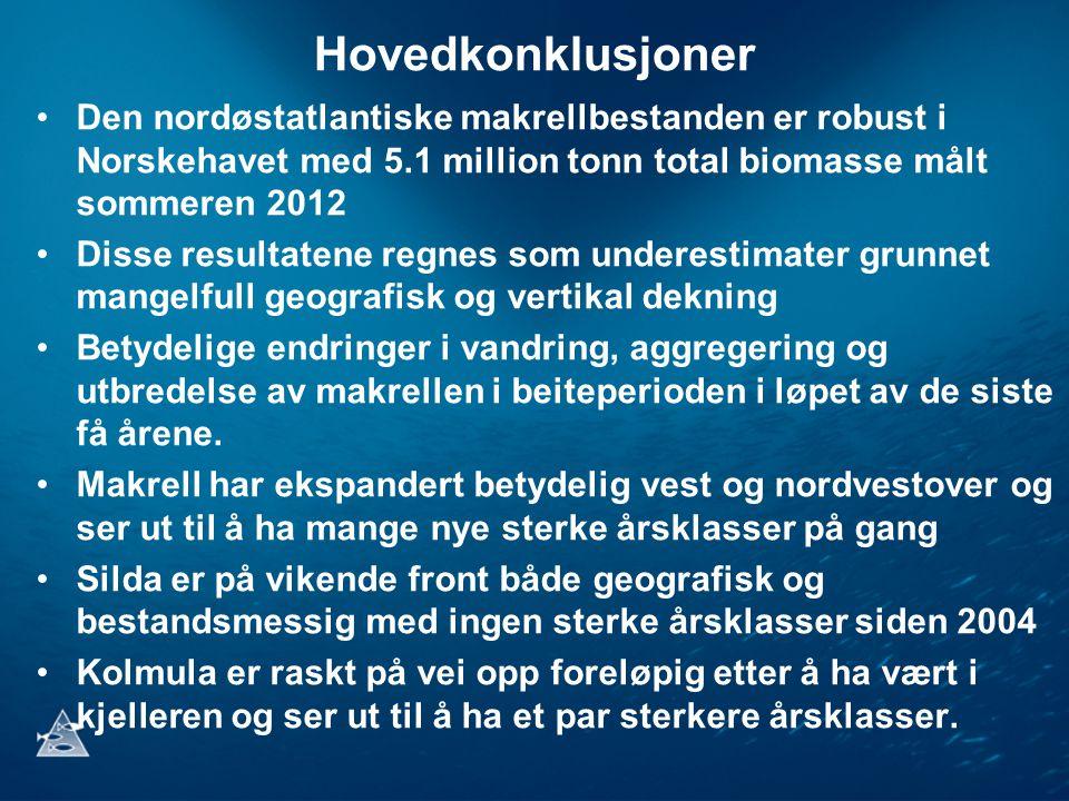 Hovedkonklusjoner Den nordøstatlantiske makrellbestanden er robust i Norskehavet med 5.1 million tonn total biomasse målt sommeren 2012.