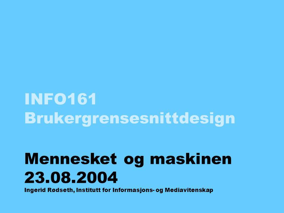 INFO161 Brukergrensesnittdesign