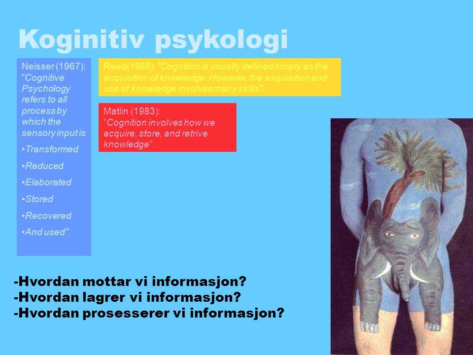 Koginitiv psykologi -Hvordan mottar vi informasjon