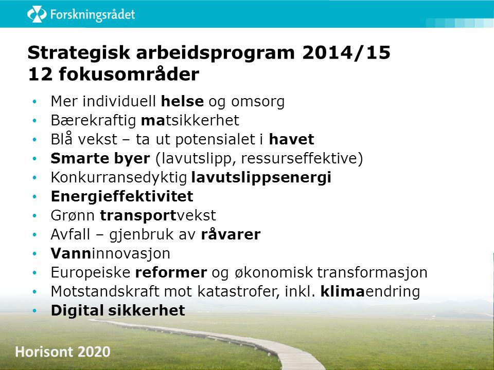 Strategisk arbeidsprogram 2014/15 12 fokusområder