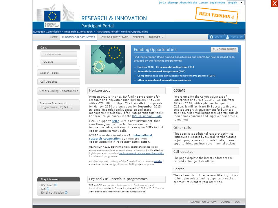 ☓ Horizon 2020 COSME Other calls Call updates Search