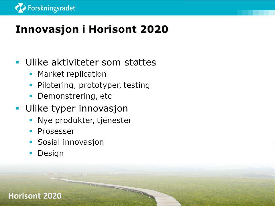 Innovasjon i Horisont 2020 Ulike aktiviteter som støttes