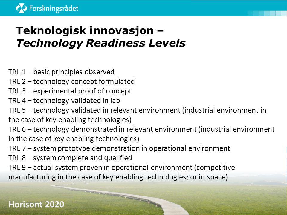Teknologisk innovasjon – Technology Readiness Levels