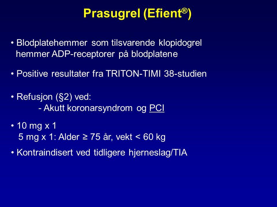 Prasugrel (Efient®) Blodplatehemmer som tilsvarende klopidogrel