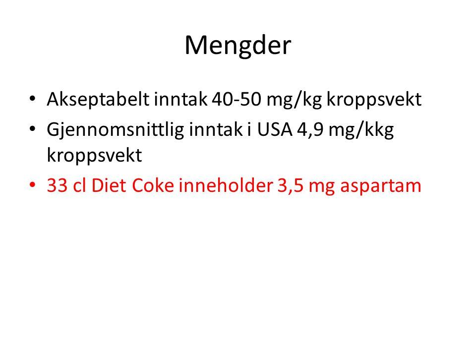 Mengder Akseptabelt inntak 40-50 mg/kg kroppsvekt