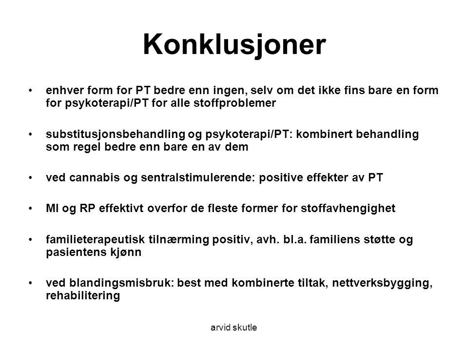Konklusjoner enhver form for PT bedre enn ingen, selv om det ikke fins bare en form for psykoterapi/PT for alle stoffproblemer.
