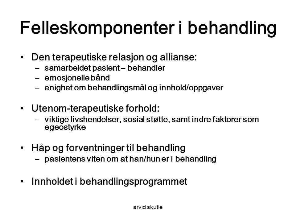 Felleskomponenter i behandling