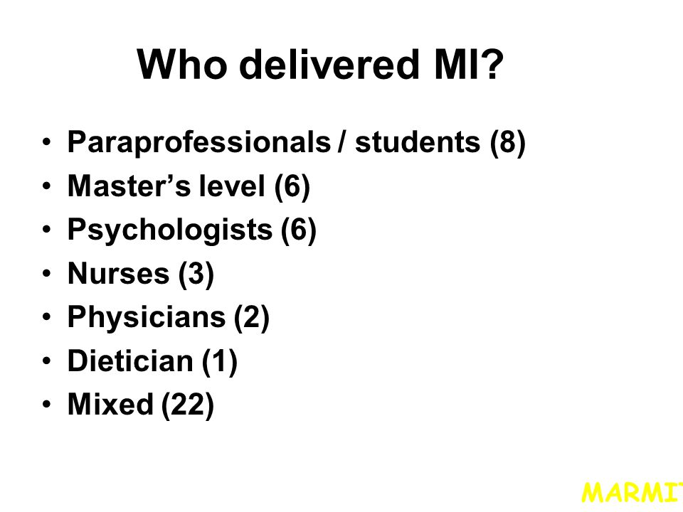 Who delivered MI Paraprofessionals / students (8) Master's level (6)