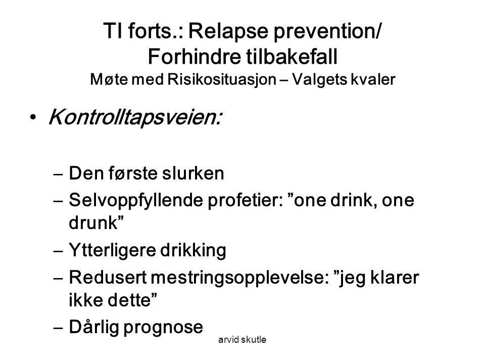 TI forts.: Relapse prevention/ Forhindre tilbakefall Møte med Risikosituasjon – Valgets kvaler
