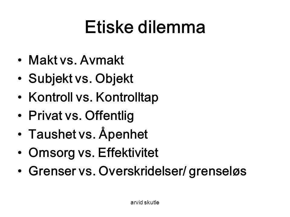 Etiske dilemma Makt vs. Avmakt Subjekt vs. Objekt