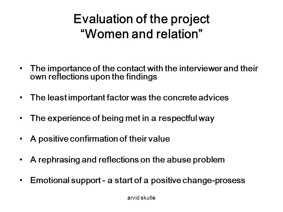 Evaluation of the project Women and relation