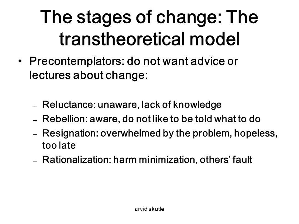 The stages of change: The transtheoretical model