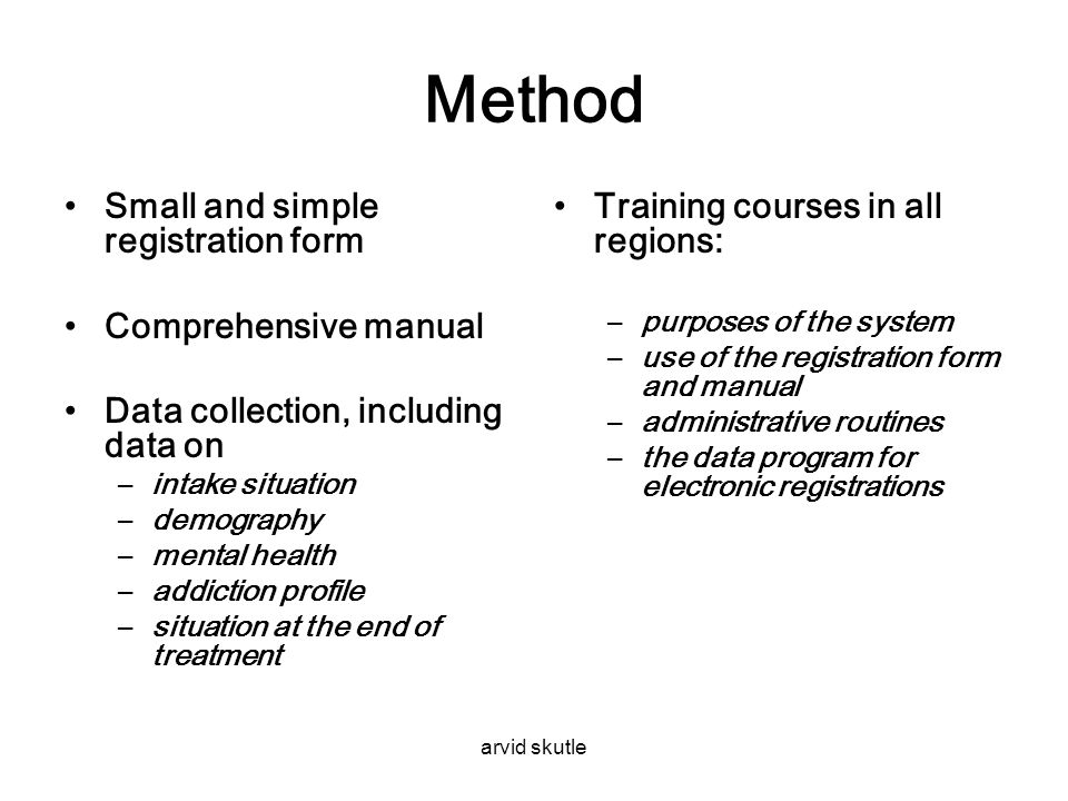 Method Small and simple registration form Comprehensive manual
