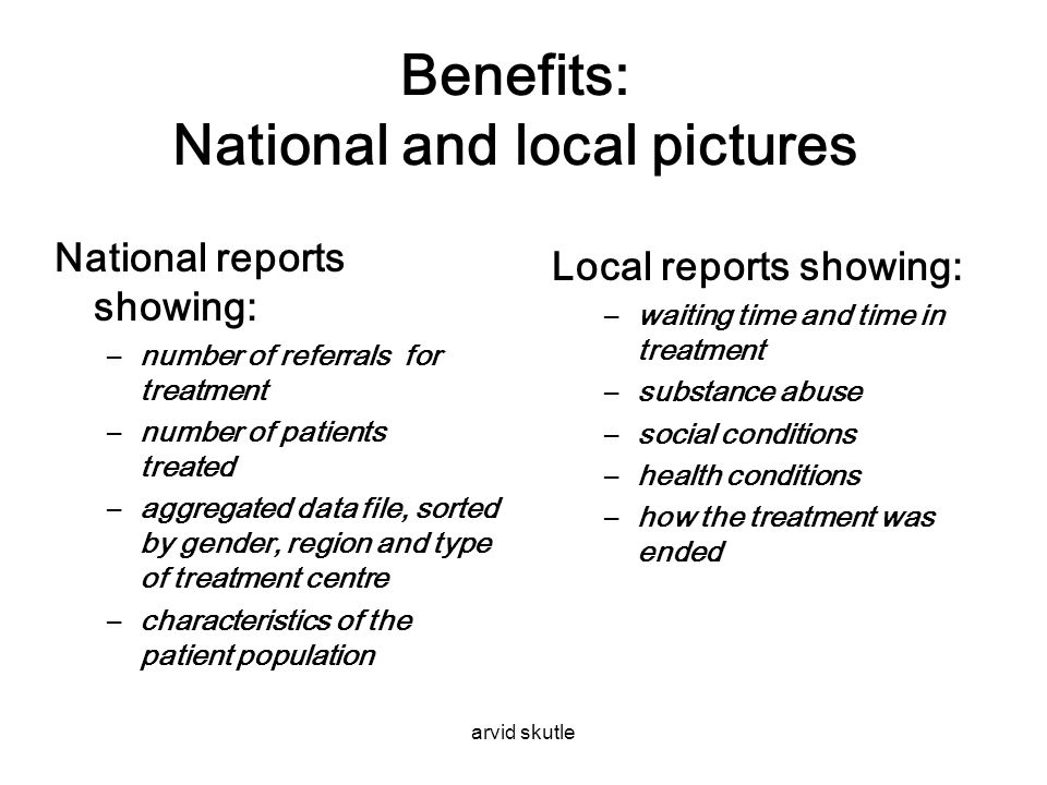 Benefits: National and local pictures