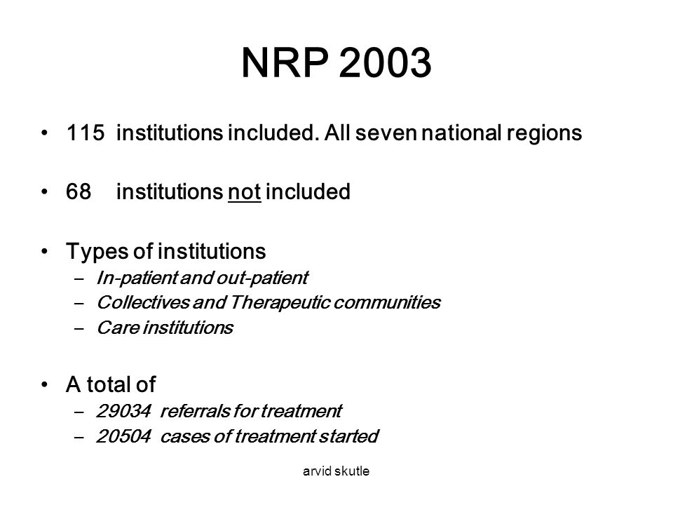 NRP 2003 115 institutions included. All seven national regions