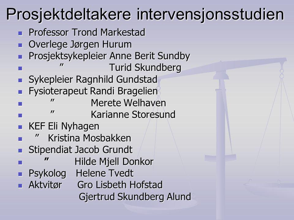 Prosjektdeltakere intervensjonsstudien