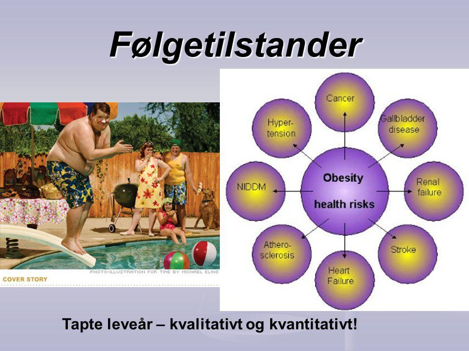Følgetilstander Tapte leveår – kvalitativt og kvantitativt!