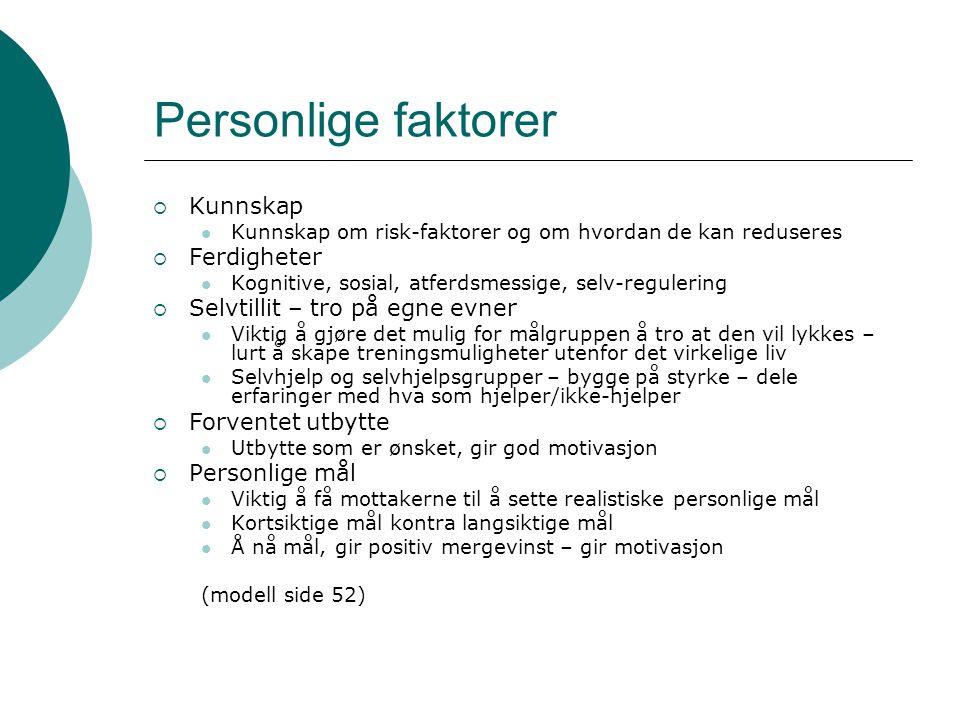 Personlige faktorer Kunnskap Ferdigheter