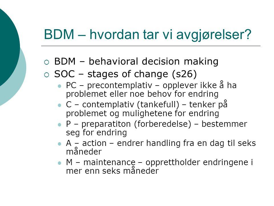 BDM – hvordan tar vi avgjørelser