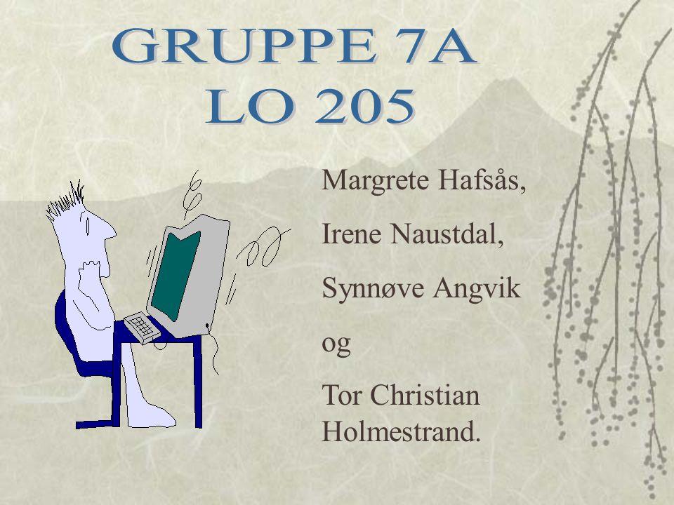 GRUPPE 7A LO 205 Margrete Hafsås, Irene Naustdal, Synnøve Angvik og