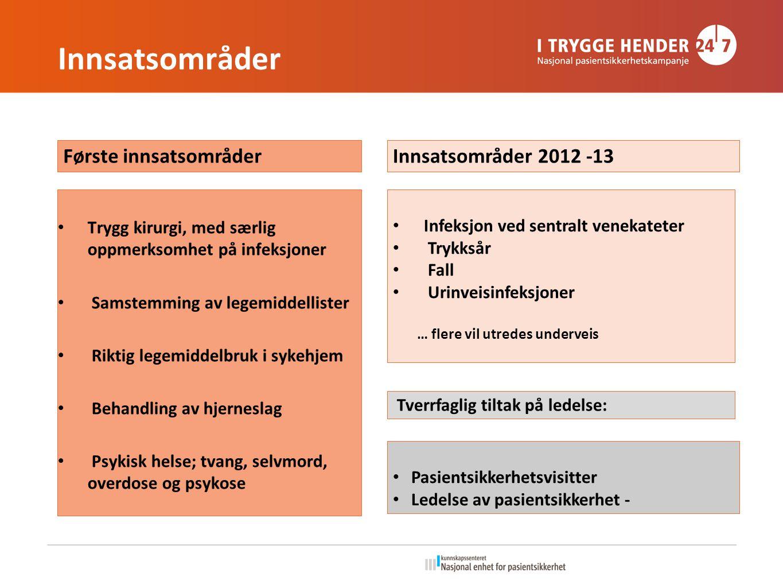 Første innsatsområder Innsatsområder 2012 -13