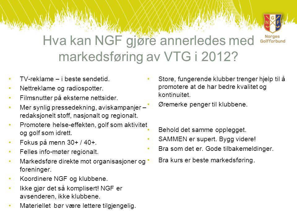Hva kan NGF gjøre annerledes med markedsføring av VTG i 2012