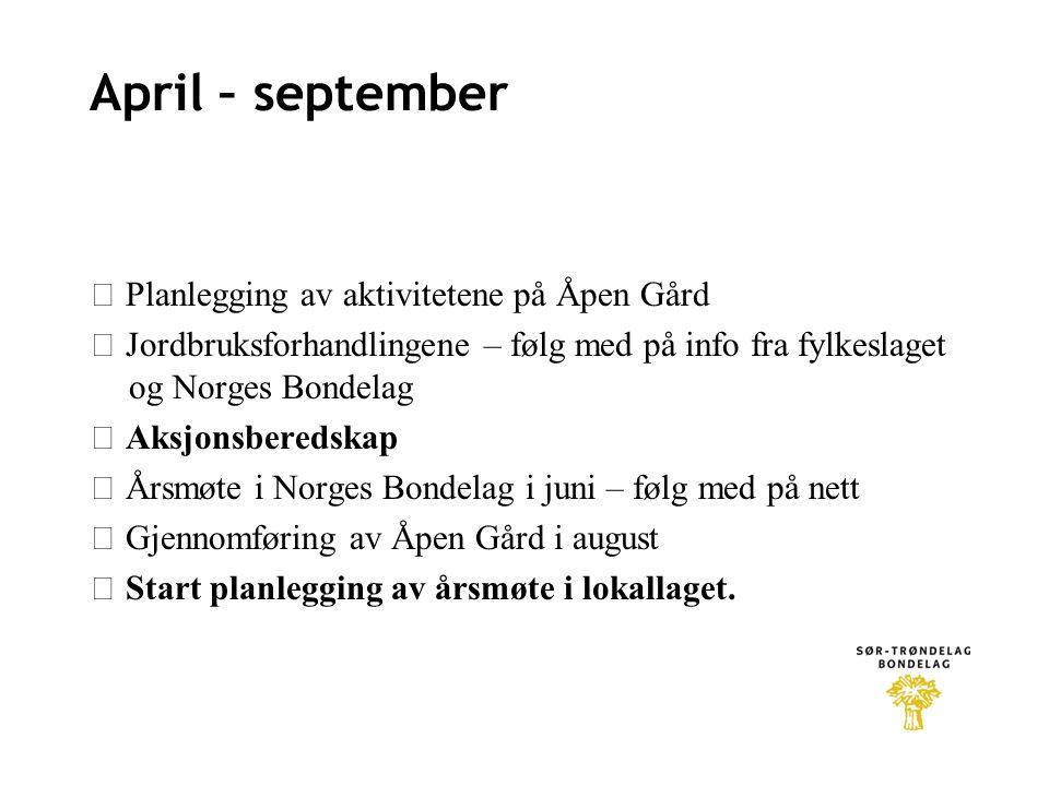 April – september  Planlegging av aktivitetene på Åpen Gård