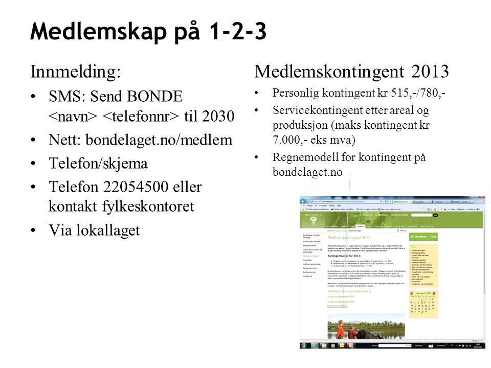 Medlemskap på 1-2-3 Innmelding: Medlemskontingent 2013