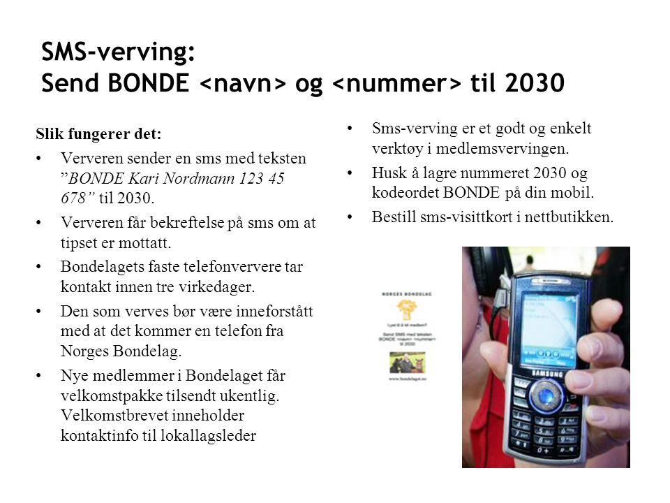 SMS-verving: Send BONDE <navn> og <nummer> til 2030