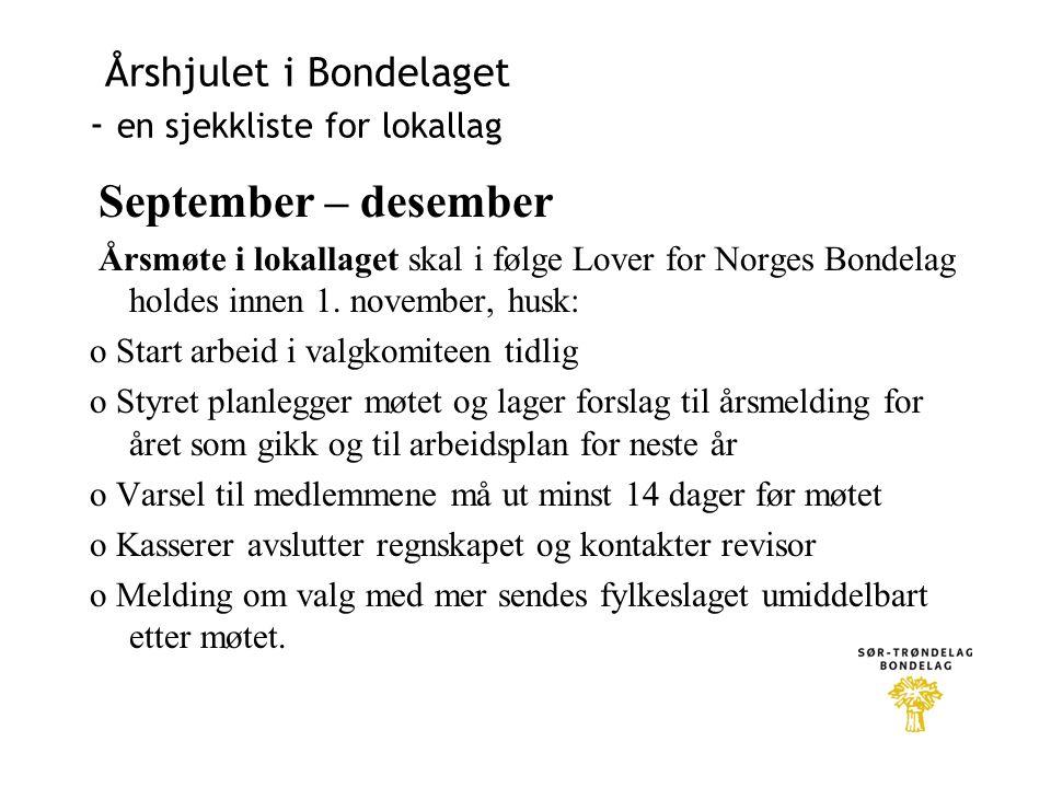 Årshjulet i Bondelaget - en sjekkliste for lokallag