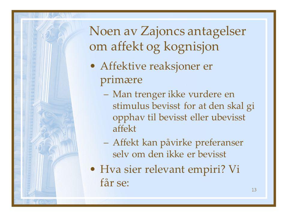 Noen av Zajoncs antagelser om affekt og kognisjon