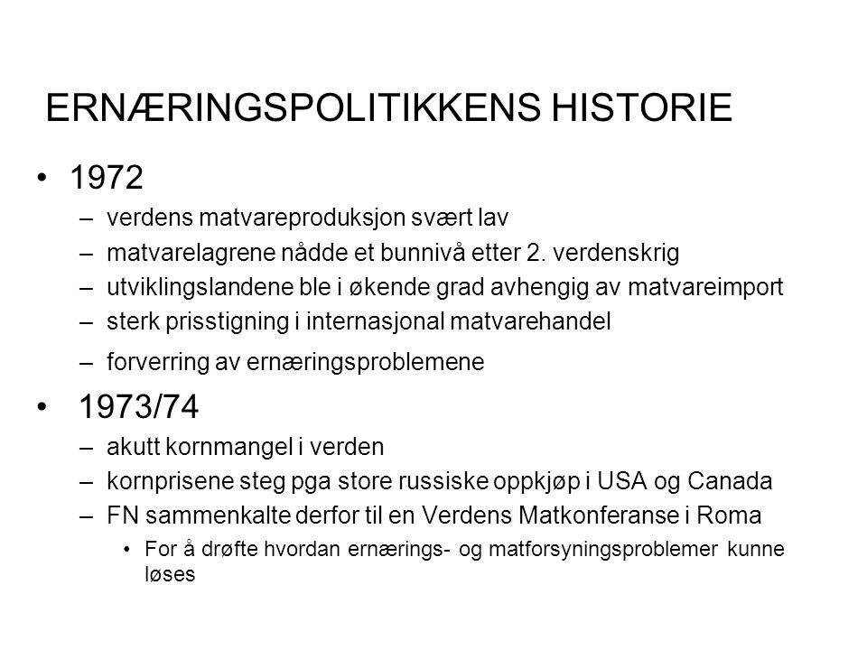 ERNÆRINGSPOLITIKKENS HISTORIE