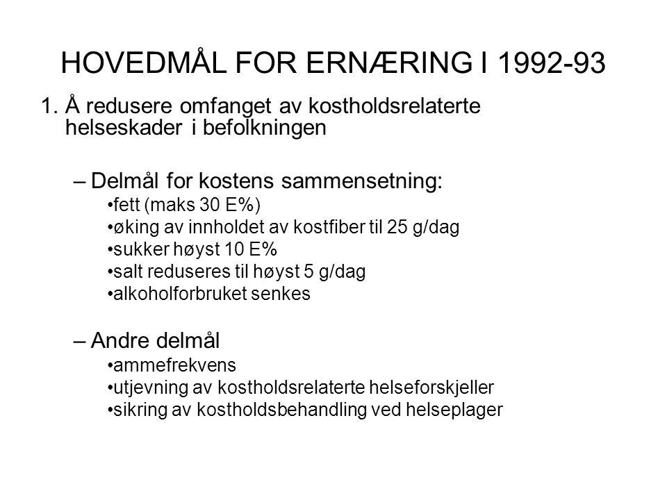 HOVEDMÅL FOR ERNÆRING I 1992-93