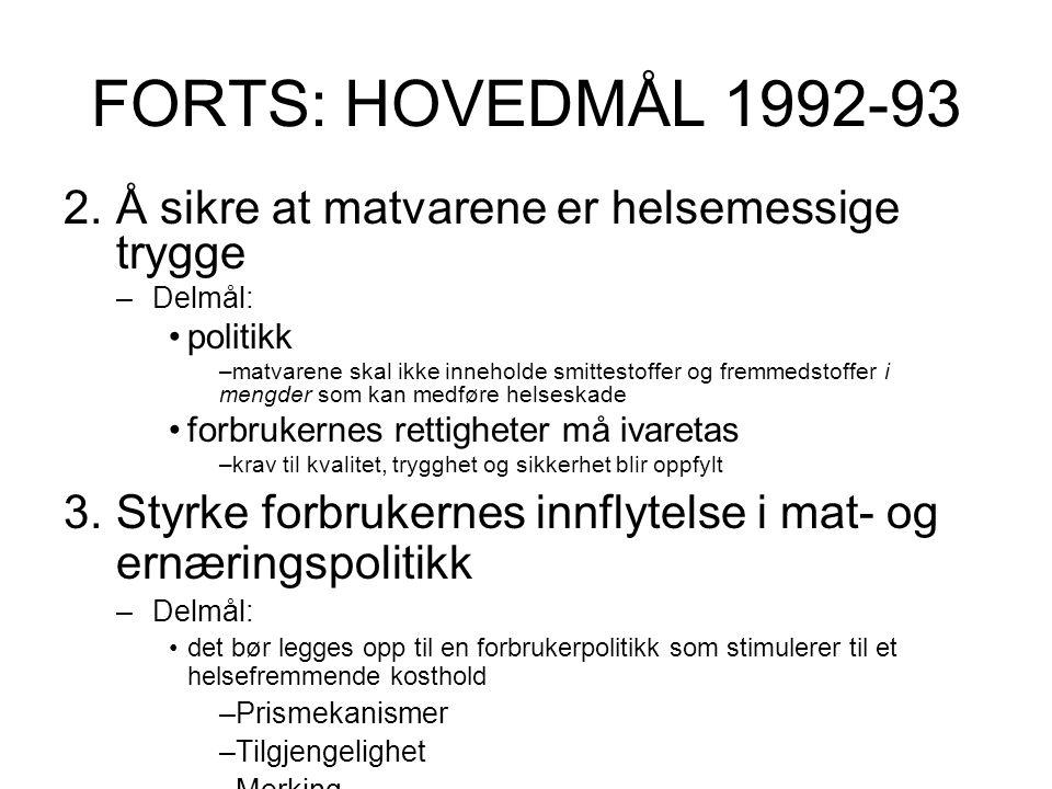 FORTS: HOVEDMÅL 1992-93 Å sikre at matvarene er helsemessige trygge